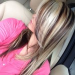 chunky blonde highlights on dark hair pictures 0