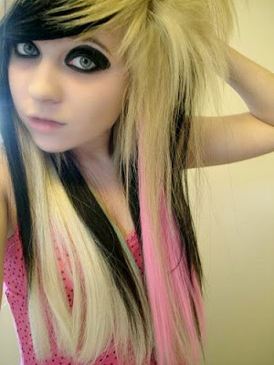 Black Hair With Platinum Blonde Highlights with pink and different hair coor