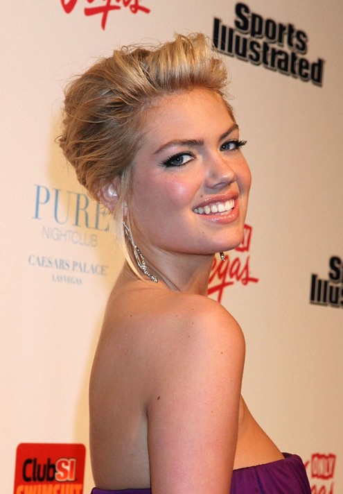 Kate Upton hairstyle front and back view