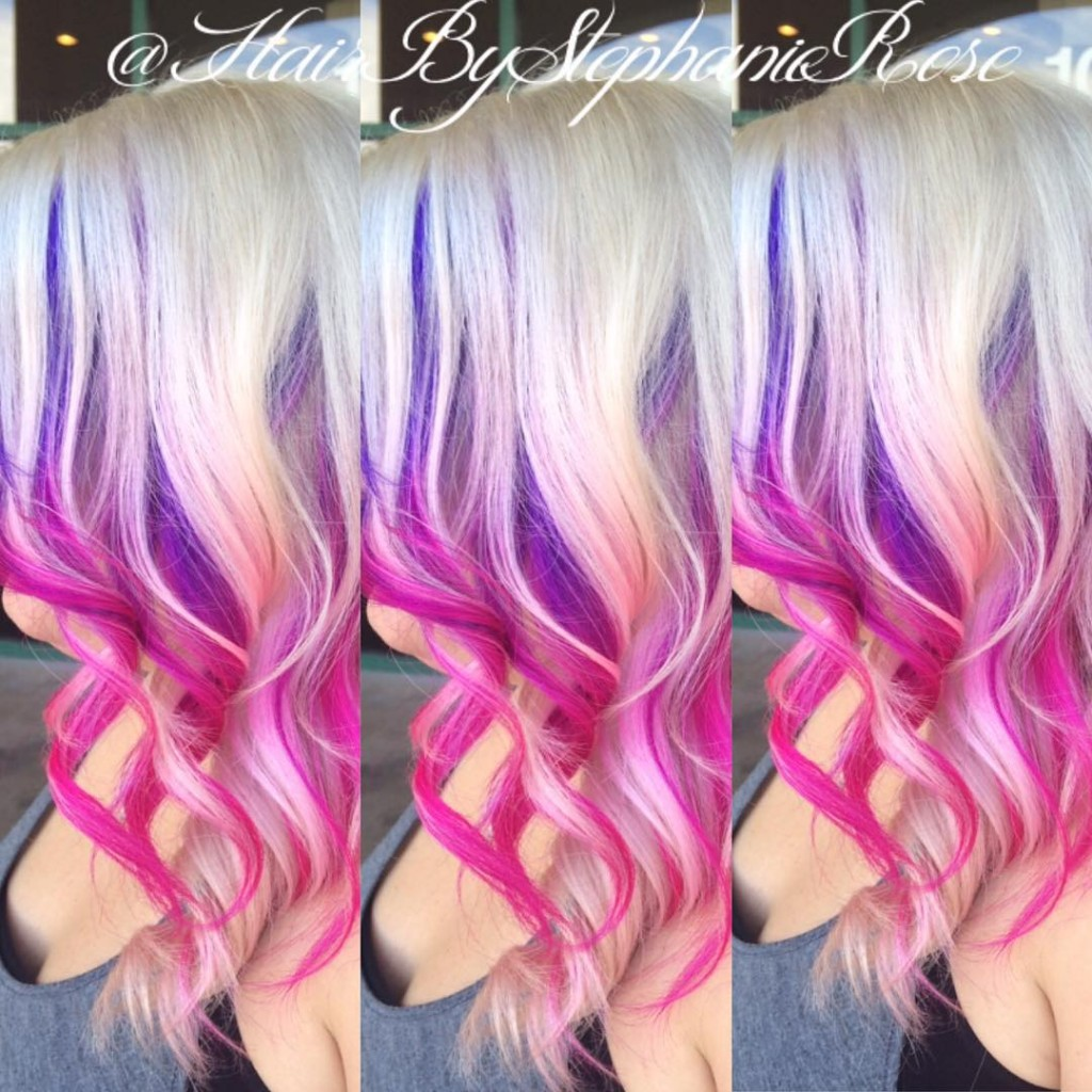 Purple Underneath hair color highlights Three Tone Color