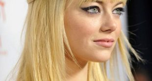 Round Face Small Forehead bangs hairstyle with Blonde hair color