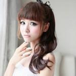 Korean bangs with long high ponytail hairstyle