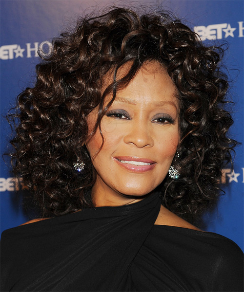 Whitney Houston Short Hairstyles with balck hair color
