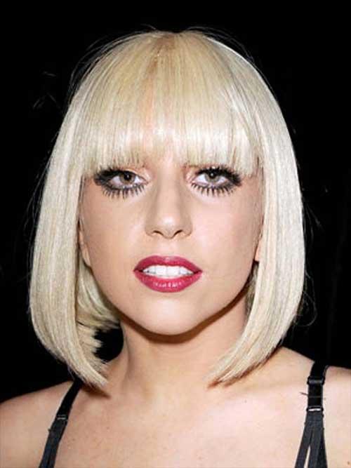 lady gaga Short bob bangs blonde hair