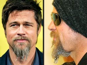 Brad Pitt Long Hairstyle With Beard Photos