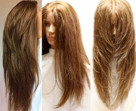 V Shaped Haircut With Layers Back View For Girls