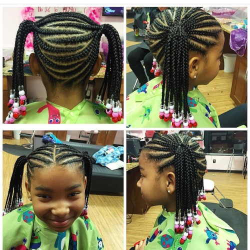 Toddler Ponytail Braided Hairstyles With Beads For Black Kids