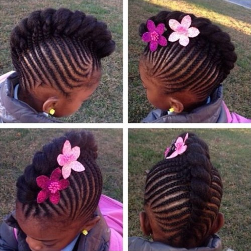 Toddler Mohawk Braided Hairstyles With Beads For Black Kids