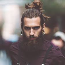 Men's Hairstyle With Beard 2019 Back-Comb With Long Pony