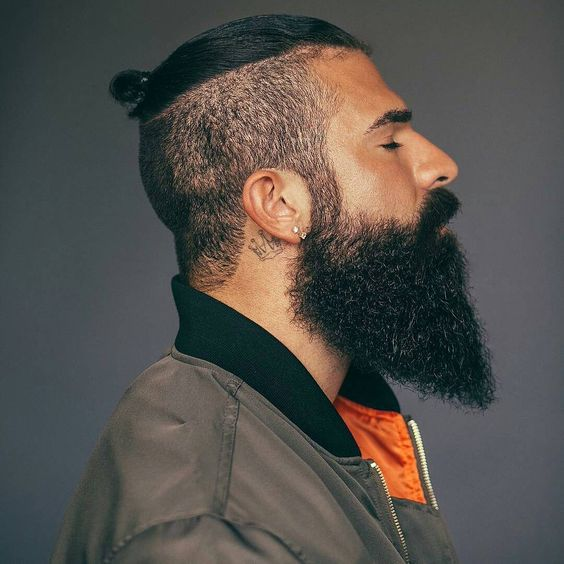 Men's Hairstyle With Beard 2019 with updo pony